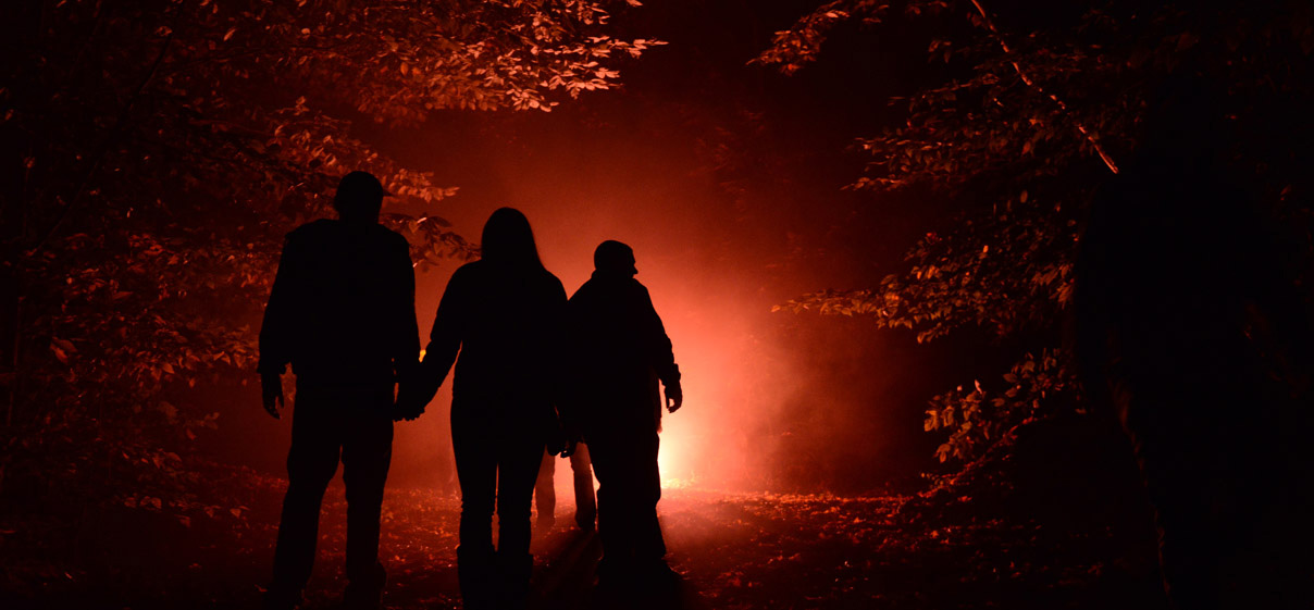 Silhouette of 3 people walking in front of a dim orange light